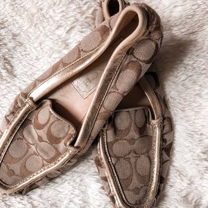 COACH Signature Gold + Beige Flats/Loafers